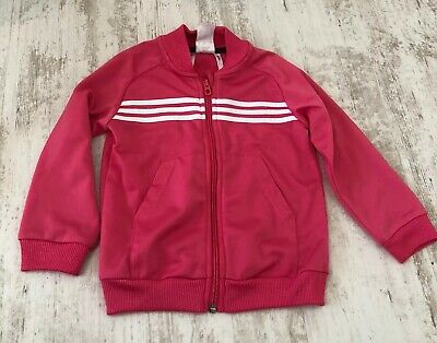 Adidas Toddler Girls Pink Zip Up Track Jacket Age 2-3 Yrs