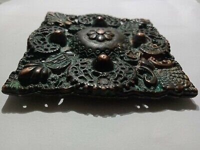 "Ancient Viking Solid Bronze Rare Pendant Amulet ""Tablet"" Great Save"