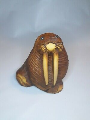 """🌟 3"""" Wooden Hand Carved Whittled Walrus Figure Vintage Highly Detailed (M2)"""