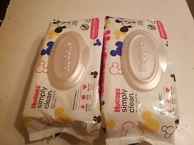Lot or 2 HUGGIES Hypoallergenic Clean Fragrance Free Baby Wipes Soft 64 Sheets
