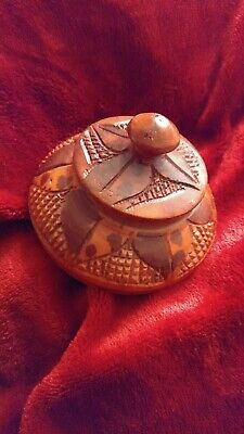 Hand Carved Wooden Bowl W Lid African Tribal Ebony Wood Carving Home Decor Nos