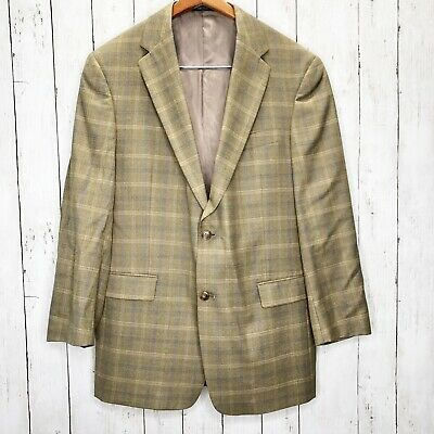 Hart Schaffner Marx mens tan brown Glen Plaid wool blend blazer jacket 42R