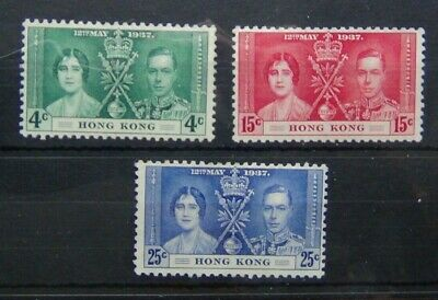 Hong Kong 1937 Coronation set Unused