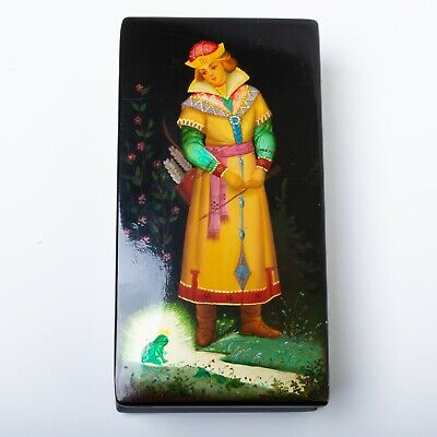 """Signed Russian Lacquer Box Fedoskino Hand Painted Frog Princess 6"""" x 3"""""""