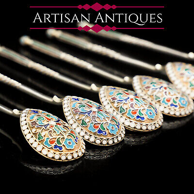 Antique Russian Silver Cloisonne Enamel Spoons | Set of 6 | c.1900