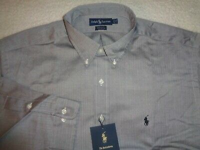 NWT Mens RALPH LAUREN POLO -YARMOUTH Button Down Shirt Gray Large 17.5 32/33 NEW