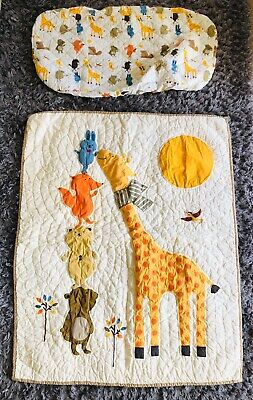 Land of Nod Baby Crib Quilt Woodland Animal Blanket & Changing Pad Cover