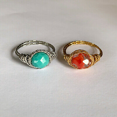 Faceted Crystal Twist Wire Wrap Ring Gold Tone Silver Tone Swirled Handmade