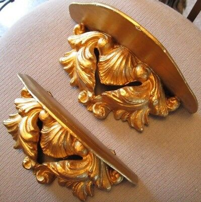 Florentine Carved Gilt Gesso Shell Acanthus Leaves Wall Sconces Shelves