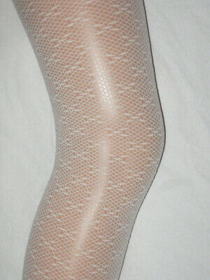 Ivory White Girls Lace Tights Age 11-13.