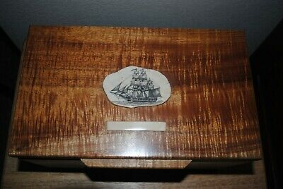 KOA Wood Trinket Or Jewlery Box With Scrimshaw