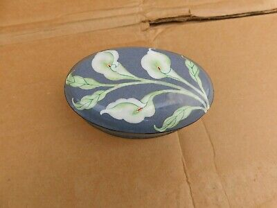 Small Old Chinese Cloisonne Floral Oval Box 4-1/2""