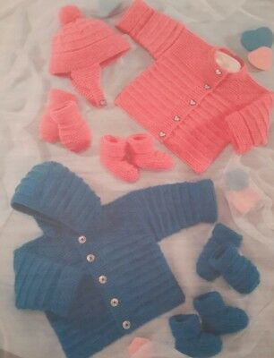 Baby/'s Blanket Jacket Hat Bootees /& Mittens Knitting Pattern - 0290 6-18mths