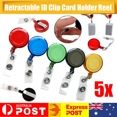 5 x Retractable Badge Holder Reel Swipe Card Security ID Pull Key Ring Tag Clip