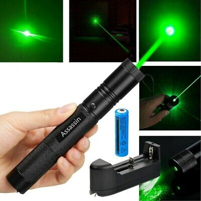200Miles 532nm Assassin Green Laser Pointer Pen 18650 Astronomy Lazer+Charger