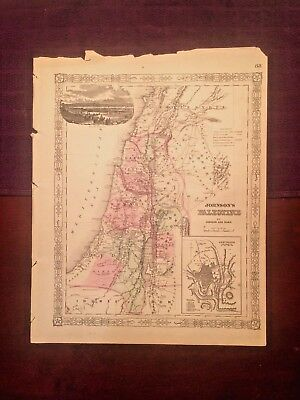 1863 Johnson & Ward Hand Colored Atlas Map of PALESTINE