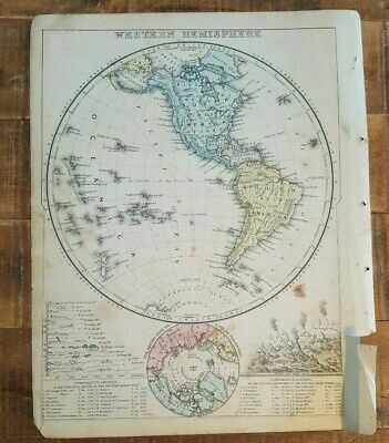Antique Colored MAP OF WESTERN HEMISPHERE 1872 Mitchell's New Interm. Geography