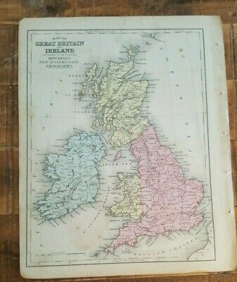Antique Colored MAP OF BRITAIN & IRELAND - 1872 Mitchell's New Interm. Geography