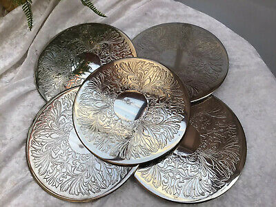 Vintage Silver Plate Set Of 6 Placemats