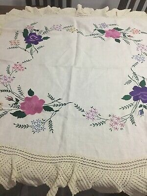 Hand Embroidered Tablecloth With Crocheted Edge On Linen, Vintage