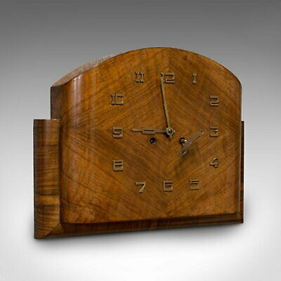 Large Vintage Wall Clock, English, Walnut, Art Deco, Maritime, 8 Day Chime