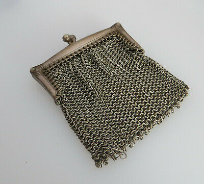 *As Found Condition* Small Silver Tone Mesh / Chain Purse - Chatelaine Interest?