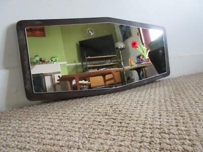 Lovely Large Vintage Retro 1960'S/70'S Dark Brown Wood Wall Hanging Mirror
