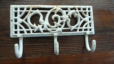 Vintage Cast Iron 3 Hook Wall Rack Hanger  Shabby Cottage Chic