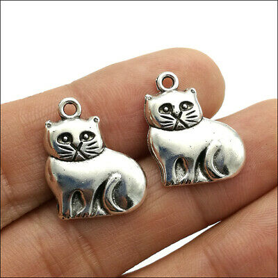 Wholesale 20/50pc Cat Antique Silver Charms Pendants Jewelry Making DIY 19*15mm
