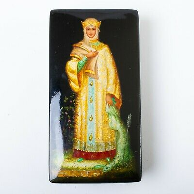 """Signed Russian Lacquer Box Fedoskino Hand Painted Frog Princess Legend 6"""" x 3"""""""