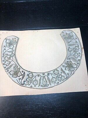 Vintage India silver & gold metal wire braid/ satin Collar