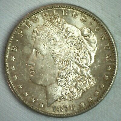 1878 S Morgan BU Silver One Dollar Coin $1 US Type Toned Uncirculated