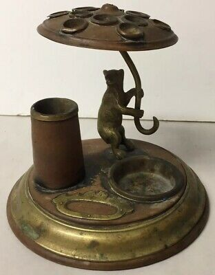 Antique Wood Brass Figural Bear Umbrella Cigarette Cigar Match Holder Dispenser