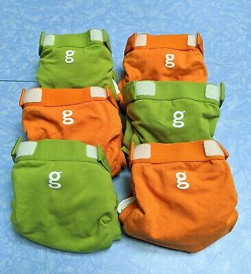 gdiapers lot of 6 new/unused small gpants + liners green and orange