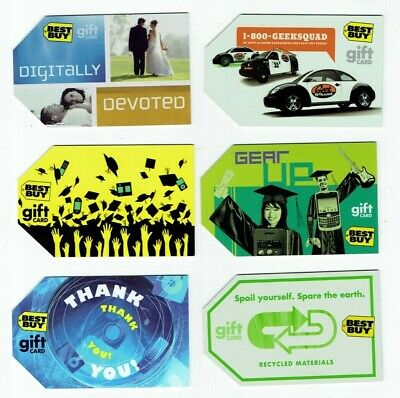 Best Buy Gift Cards - LOT of 6 - Collectible - Geek Squad, Grad, Wedding +