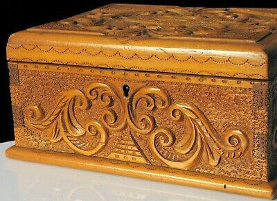 Antique Beautiful Hand Carved Wood Exquisite Jewelry Box Dovetail Fine Tooled !