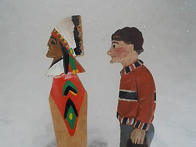 Two.Folk Art Wooden Carved Letter Openers Woman and Indian Chief'