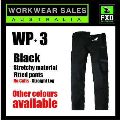 WP-3 FXD Black Work Pants New Stretch Fitted Style Mens Workwear  WP3