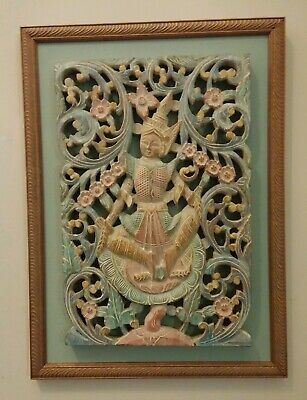 Vintage Buddhist Hindu Architectural Wood Carving Shrine Temple Wall Panel
