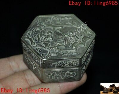 Collect Old Chinese Tibetan Silver People pattern Jewelry Box jewellery boxes