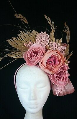 Nude Blush Pale Pink Gold Flowers Feathers Hat Fascinator Races Headband Crown