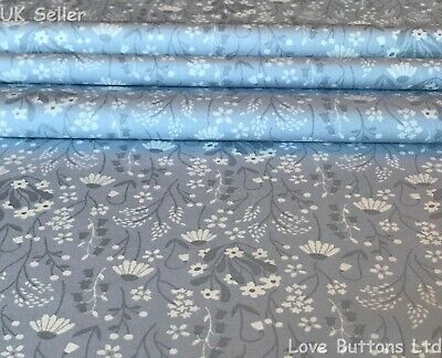 Rose & Hubble Bluebell And Daisy Grey Floral Fabric 100% Cotton Fat Quarter