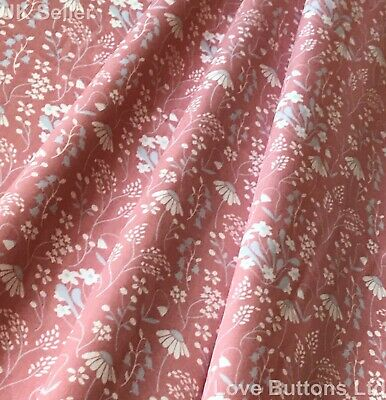 Rose & Hubble Bluebell And Daisy Rose Pink Floral Fabric 100% Cotton Fat Quarter