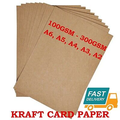 A6 A5 A4 A3 A2 100gsm 300gsm BROWN KRAFT CARD CRAFT PRINTER PAPER TAGS BAG LABEL
