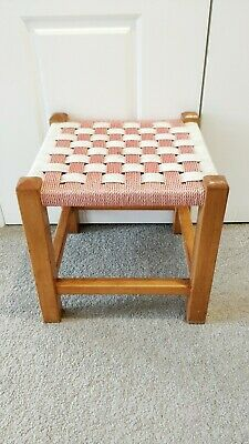 Vintage Retro 60s Wooden Rattan Woven Wicker Red White Square Foot Stool