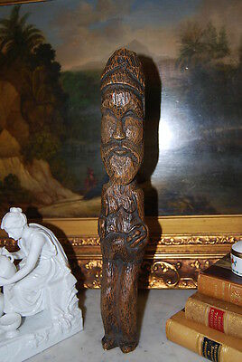 Wonderful Large Hand Carved Figure Of An Native Man With A Beard In Natural Wood