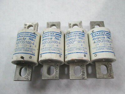 Lot of 4 NNB Ferraz Shawmut A30QS100-4 Semiconductor Fuses (100 Amp, 300 Volt)