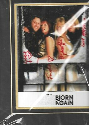 Bjorn Again Abba Tribute Band Hand Signed Presentation Piece With Ticket From 00