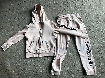 Girls Pink Calvin Klein Tracksuit Zip Jacket And Bottoms Age 10