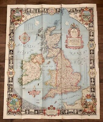 Vintage 1937 National Geographic Society British Isles Great Britain Map